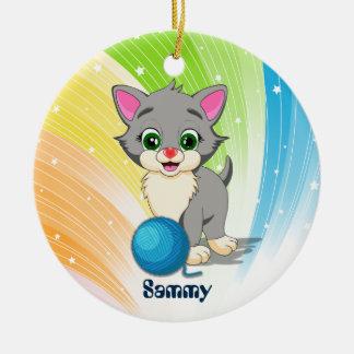 Cutie Grey Kitten Cartoon Round Ceramic Decoration