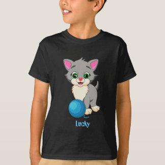 Cutie Grey Kitten Cartoon T-Shirt