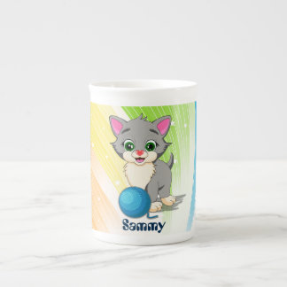 Cutie Grey Kitten Cartoon Tea Cup