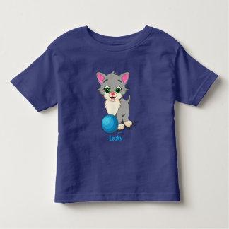 Cutie Grey Kitten Cartoon Toddler T-Shirt
