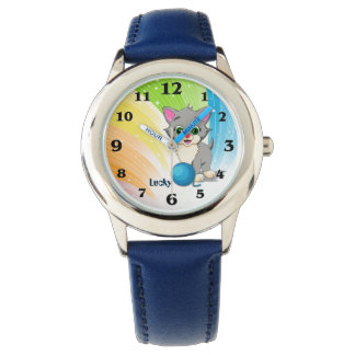 Cutie Grey Kitten Cartoon Watch