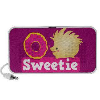 Cutie hedgehog sweetie with doughnut speakers