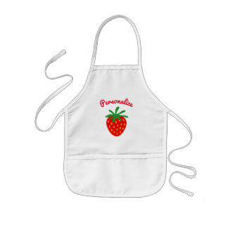 Cutie kid's baking apron with red strawberry logo