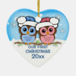 Cutie Owl Couple First Christmas Ornament Ceramic Heart Ornament