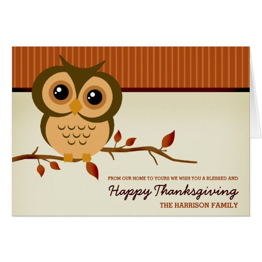 Cutie Owl Happy Thanksgiving Card
