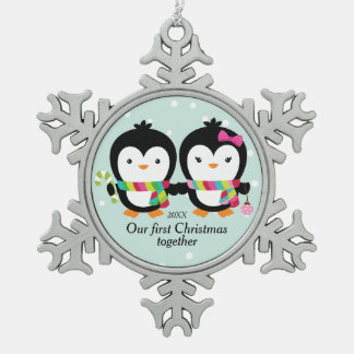 Cutie Penguin Couple First Christmas Snowflake Pewter Christmas Ornament