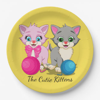 Cutie Pink and Grey Kittens Cartoon 9 Inch Paper Plate