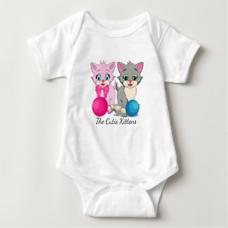 Cutie Pink and Grey Kittens Cartoon Baby Bodysuit