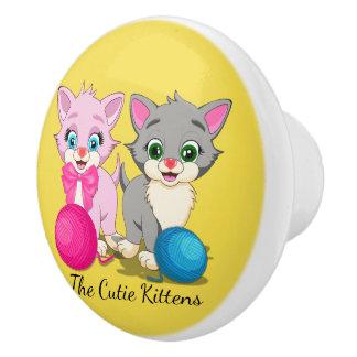 Cutie Pink and Grey Kittens Cartoon Ceramic Knob