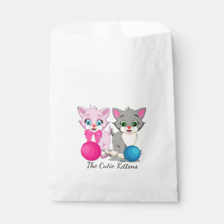 Cutie Pink and Grey Kittens Cartoon Favour Bags