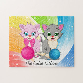 Cutie Pink and Grey Kittens Cartoon Jigsaw Puzzle