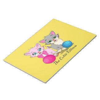 Cutie Pink and Grey Kittens Cartoon Notepad