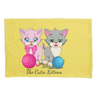 Cutie Pink and Grey Kittens Cartoon Pillowcase