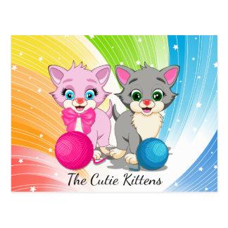 Cutie Pink and Grey Kittens Cartoon Postcard