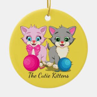 Cutie Pink and Grey Kittens Cartoon Round Ceramic Decoration
