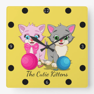 Cutie Pink and Grey Kittens Cartoon Square Wall Clock