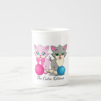 Cutie Pink and Grey Kittens Cartoon Tea Cup