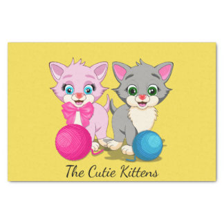 Cutie Pink and Grey Kittens Cartoon Tissue Paper
