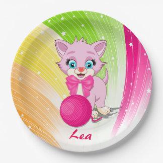 Cutie Pink Kitten Cartoon 9 Inch Paper Plate