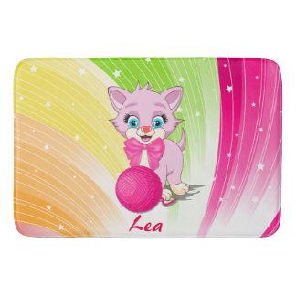 Cutie Pink Kitten Cartoon Bath Mat
