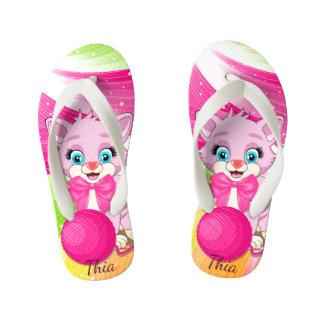 Cutie Pink Kitten Cartoon Flip Flops