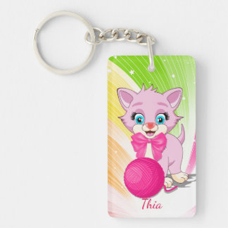 Cutie Pink Kitten Cartoon Key Ring