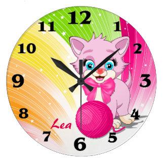 Cutie Pink Kitten Cartoon Large Clock