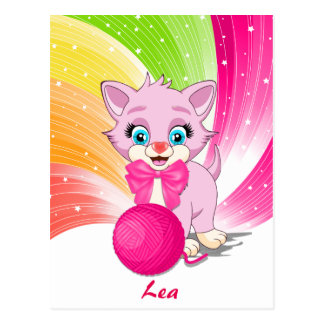 Cutie Pink Kitten Cartoon Postcard