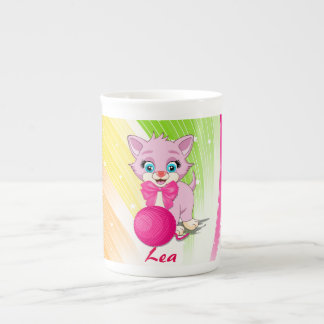 Cutie Pink Kitten Cartoon Tea Cup