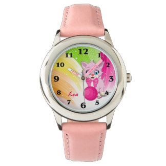 Cutie Pink Kitten Cartoon Wristwatch