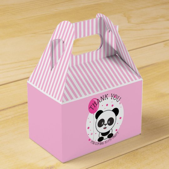 Cutie Pink Panda Birthday Party Favour Box