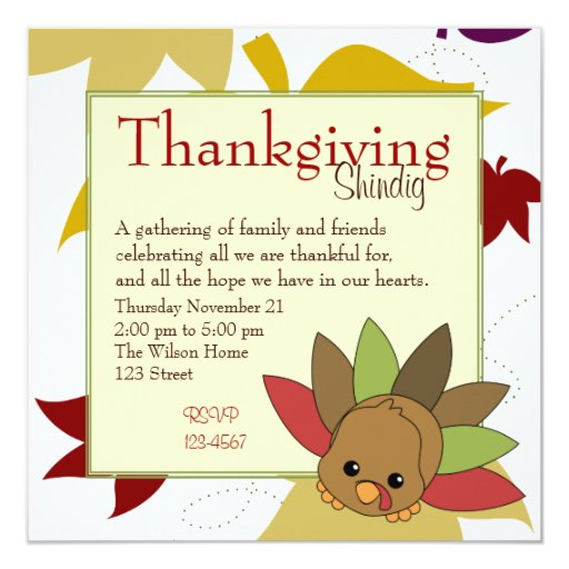 Cutie Turkey 13 Cm X 13 Cm Square Invitation Card