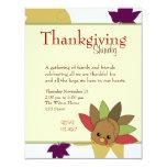 """Cutie Turkey 4.25"""" X 5.5"""" Invitation Card"""