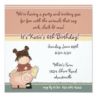 """Cutie with Piggie Invitation 5.25"""" Square Invitation Card"""