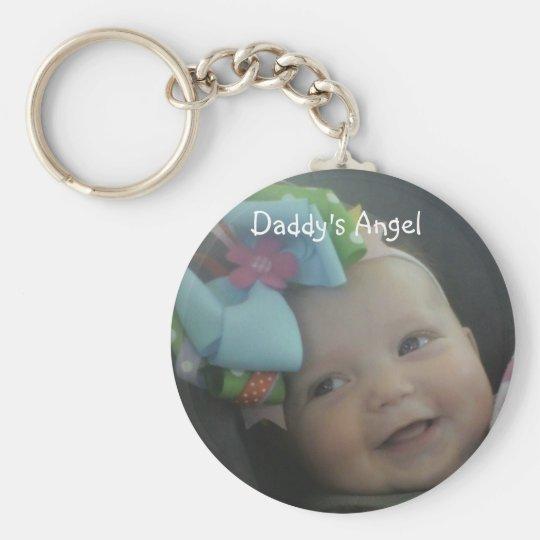 cutiepie, Daddy's Angel Basic Round Button Key Ring