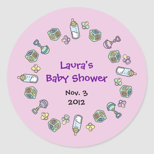 Cutietoots Baby Shower Party Favour Classic Round Sticker