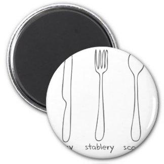 Cutlery 6 Cm Round Magnet