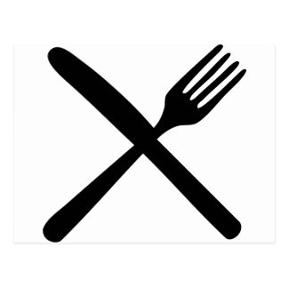 cutlery fork and knife crossed post card