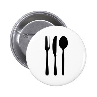 Cutlery - Fork - Knife - Spoon 6 Cm Round Badge