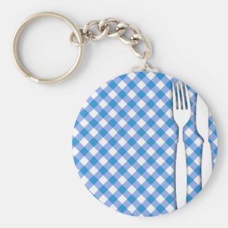 Cutlery on Table Cloth Basic Round Button Key Ring