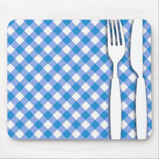 Cutlery on Table Cloth Mouse Pad