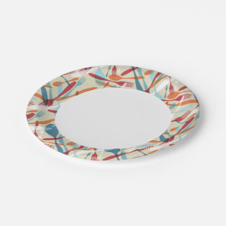 Cutlery Transparent Silhouette Pattern Paper Plate