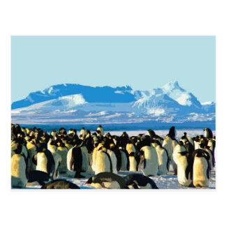Cutout Artistic Vintage Penguins Postcard
