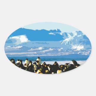 Cutout Artistic Vintage Penguins Oval Sticker