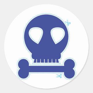 CUTOUT! blue skull boy Round Sticker