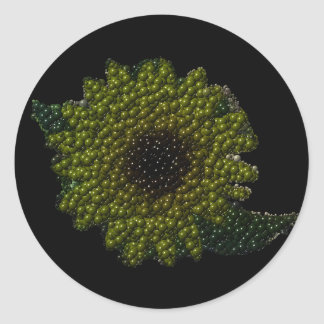 Cutout Bubbly Sunflower Round Sticker