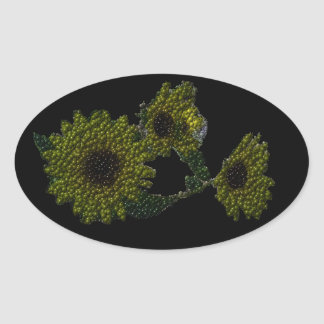 Cutout Bubbly Sunflowers Oval Sticker