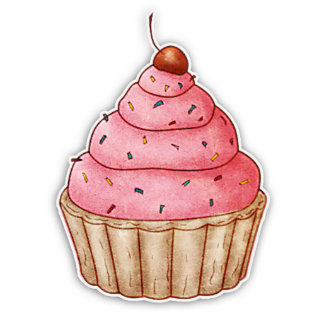 Cutout Cherry Cupcake, Yummy Cupcake Decoration Standing Photo Sculpture