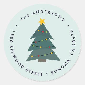 Cutout Christmas Tree   Holiday Return Address Classic Round Sticker