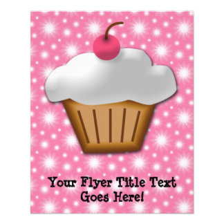 Cutout Cupcake with Pink Cherry on Top 11.5 Cm X 14 Cm Flyer
